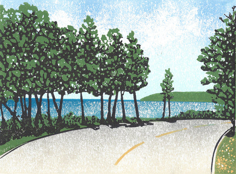 Bend by the Bay. 8 x 6 in. A Mackinac Island-inspired original linoleum block print by Michigan artist Natalia Wohletz of Peninsula Prints. Based on Mackinac Island's M-185, this print captures the joy of the journey and the beauty of a Great Lakes shoreline. It's a great gift for nature lovers of all types!