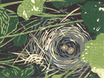 Bird's Nest is an adorable five-color reduction linoleum block print of a bird nest housing two eggs hidden among plants in a garden. Created by Natalia Wohletz of Peninsula Prints.