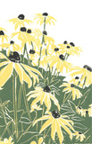 Black Eyed Susan's, a linoleum block print design by Natalia Wohletz of Peninsula Prints.  It's perfect for sending a personalized note, custom invitation or displayed in a frame.  The design is inspired by the native perennial's blooming in Mackinac Island gardens.