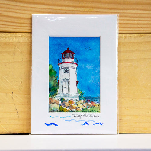 Cheboygan Crib Lighthouse - fine art print by Mary Lou Peters.