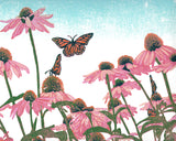 Coneflower Patch.  10 x  8 in.  Original 7-color reduction linoleum block print on archival fine art paper by Natalia Wohletz of Peninsula Prints.
