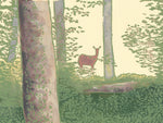 Deer in the Woods Card is a linoleum block print by Natalia Wohletz of Peninsula Prints.