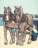 Dray Team on the Dock.  8 x 10 in.  Original five-color linoleum block print on archival fine art paper by Natalia Wohletz of Peninsula Prints.