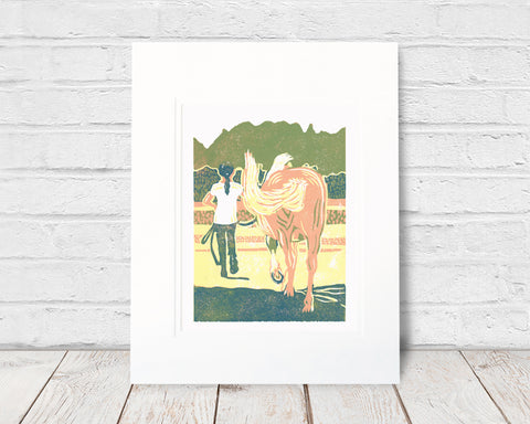 Forever Friends. 6 x 8  in.  Original four-color reduction linoleum block print on archival fine art paper by Natalia Wohletz of Peninsula Prints. The print celebrates the precious bond between children and horses. Forever Friends was inspired by Blaze, a pony on Mackinac Island, Mich.