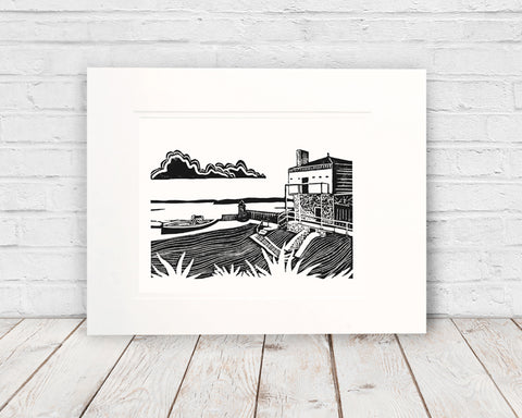 Fort Mackinac Blockhouse. One-color original linoleum block print by Natalia Wohletz of Peninsula Prints. This print makes a great gift for Revolutionary War buffs and Mackinac Island enthusiasts!