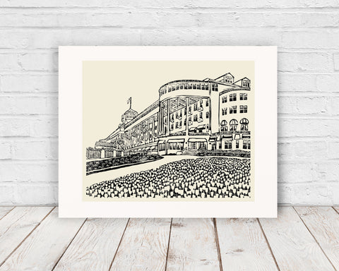 Grand Hotel #2 is an original one-color reduction linoleum block print on archival fine art paper by Natalia Wohletz of Peninsula Prints depicting the enchanting, historic and world-renowned Grand Hotel on Mackinac Island.