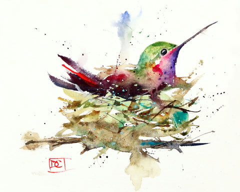 Hummingbird In Nest - Hummingbird Watercolor Tile