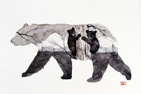 Mama Bear & Cubs - Matted Watercolor Print