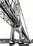 Mighty Mac.  One-color original linoleum block print by Natalia Wohletz of Peninsula Prints.  The bridge art print design is a minimalistic depiction of the Mackinac Bridge, the longest suspension bridge in the Western Hemisphere. The iconic Michigan bridge connects Midwestern state's Upper and Lower Peninsulas.