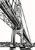 Mighty Mac card, a linoleum block print by Natalia Wohletz of Peninsula Prints.
