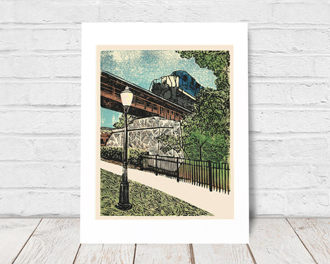 Milford Train was inspired by the freight trains that chug through Milford, Michigan, on a daily basis. The linoleum block print depicts the quaintness of many small towns in the United States of America. The print looks great as a set with Village of Milford.