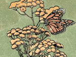 Monarch on Tansy, a linoleum block print by Natalia Wohletz of Peninsula Prints.