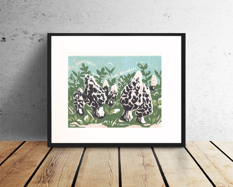 Morel Mushrooms – block print