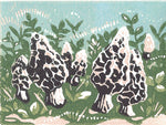 Morels, a linoleum block print by Natalia Wohletz of Peninsula Prints.
