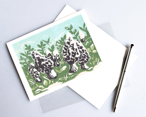 Morels card featuring a linoleum block print design by Natalia Wohletz of Peninsula Prints.