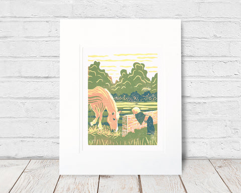 Peek-a-Boo. 6 x 8  in.  Original four-color reduction linoleum block prints on archival fine art paper by Natalia Wohletz of Peninsula Prints. The print celebrates the precious bond between children and horses. Peek-a-Boo was inspired by Blaze, a pony on Mackinac Island, Michigan.