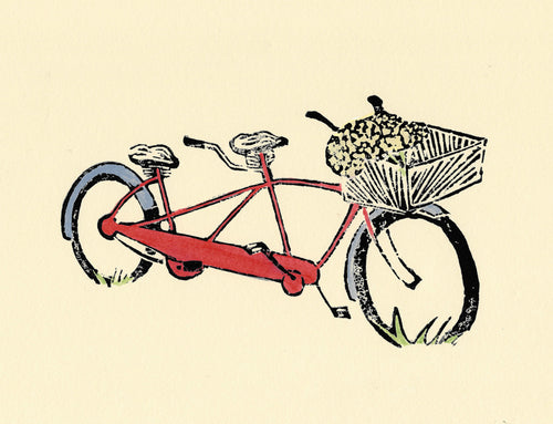 Red Tandem is an original multi-color, mixed media linoleum block print by Michigan artist Natalia Wohletz of Peninsula Prints featuring a bicycle for two.  This bike art print was inspired by the tandem bike Natalia enjoys riding with her family and friends on Mackinac Island.  Bike art print. Original artwork.