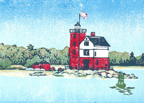 Round Island Light is an original four-color, mixed media linoleum block print by Michigan artist Natalia Wohletz of Peninsula Prints.  This art print features a view of a lighthouse from a passing boat. It was inspired by one of Michigan's Round Island Light, which stands across the channel from Mackinac Island.
