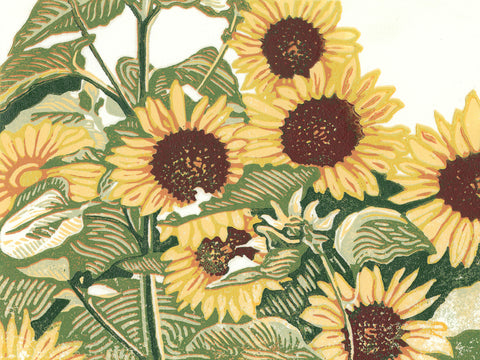 Sunflower Patch is an original seven-color linoleum block print by Michigan artist Natalia Wohletz of Peninsula Prints. This floral and natural inspired art print features seven bright yellow sunflowers stand in a patch.