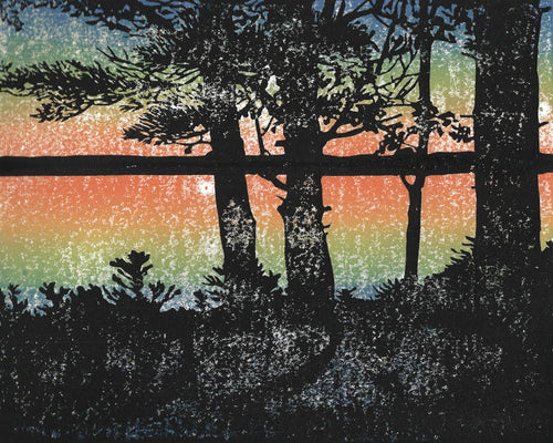 Sunset.  Original multi-color linoleum block print by Michigan artist Natalia Wohletz of Peninsula Prints.