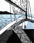 To My Estella is an original multi-color linoleum block print by Michigan artist Natalia Wohletz of Peninsula Prints. This sailing art print features was inspired by a sailboat gliding through the Great Lakes on a calm day near Mackinac Island, Michigan.