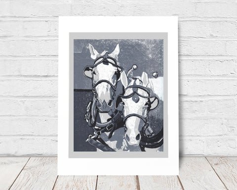 Two Horse Team in Monochrome