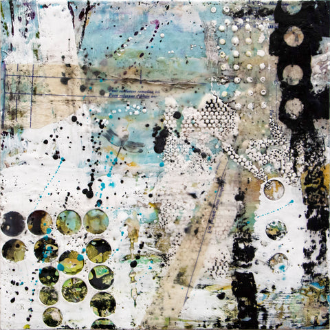 The Pond – original encaustic mixed media art by Cindy Rashid.