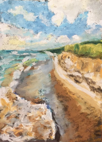 Refresh is an original oil pastel painting by Lily Niederpruem of Chicago and Mackinac Island.  4 x 6 in.  The piece depicts the beauty of a Great Lakes shoreline.