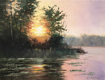 "River Sunset by Heiner Hertling. Plein Air Oil on board.  14"" x 11""  A pink glow settles over a river as the sun sets behind the trees."