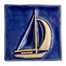 Load image into Gallery viewer, 4x4 Sailboat - Lake Michigan Blue decorative tile by Little Traverse Tileworks.