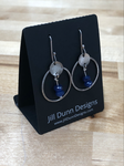 Argentium Silver Earrings with Blue Swarovski Beads