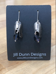 Silver Earrings with Purple Swarovski Crystals