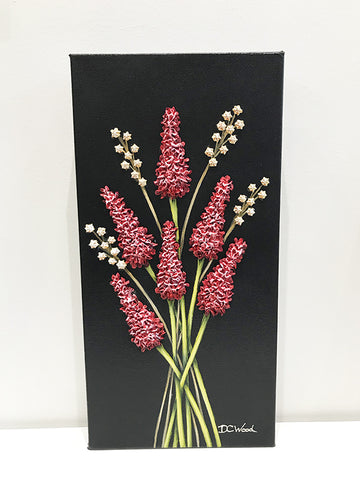 Small Works - #1100 floral painting by Denise Cassidy Wood of Northville, Mich.  Size 12 x 6 x 1.5 in.  Original, artist-signed, acrylic and mixed-media on gallery-wrapped canvas painting.
