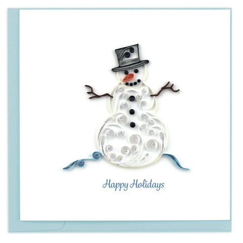 Snowman holiday greeting card by Quilling Card. Certified Fair Trade art cards handcrafted in Vietnam.