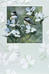 "An embossed anniversary/wedding card featuring a pair of chickadees.  Artwork by Russell Cobane.  Pumpernickel Press cards are made in USA. Includes 1 card and 1 envelope. 8-1/4"" x 5-3/8"""