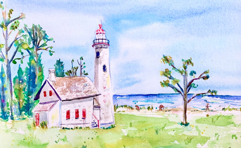 Sturgeon Point Lighthouse by Megan Swoyer.  11 1/2 x 7 1/2. Watercolor on cold press fine art paper.