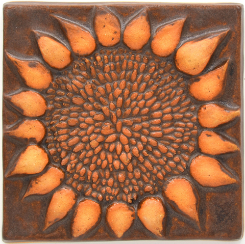 4x4 Sunflower Tile - Chocolate Brown