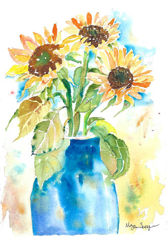 Sunflowers Out of the Blue - watercolor