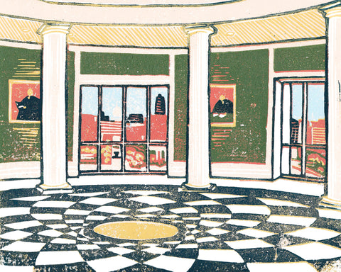 Michigan Supreme Court #4 card features a linoleum block print design by Natalia Wohletz of Peninsula Prints. Blank inside.  This design is one of four in a series Natalia created to be displayed in the lobby of the Michigan Hall of Justice.