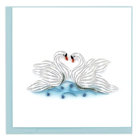 "Greeting card by Quilling Card. Certified Fair Trade art cards handcrafted in Vietnam. 6"" x 6"" Blank inside. Extra postage required.  An ideal card for newlyweds, a friend, your spouse and/or soul mate."
