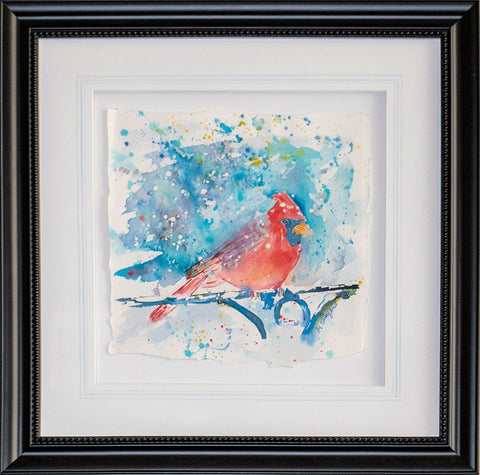 Cardinal in the Snow – framed original watercolor by Megan Swoyer