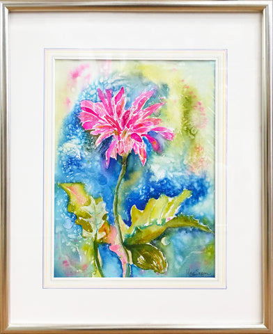 Gerber Daisy Celebration – a framed original watercolor painting by Michigan artist Megan Swoyer.