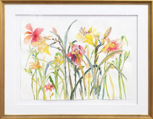 In the Lily Garden – a framed original watercolor painting by Michigan artist Megan Swoyer.