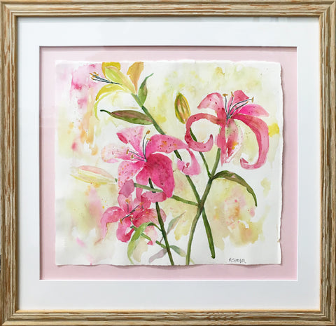 Pink Lillies Painting by Michigan artist Megan Swoyer.