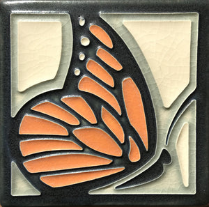 Tangerine Butterfly 4x4 #4439 by Motawi.