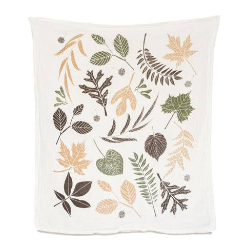 Leaf Pile Flour Sack Tea Towel