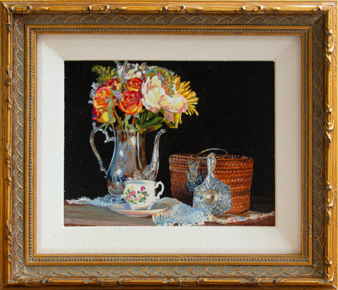 The Tea Basket Miniature Oil Painting
