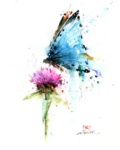 Butterfly & Thistle - Watercolor Tile