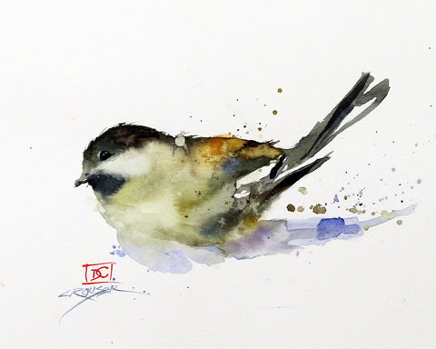 Chickadee - Watercolor Tile