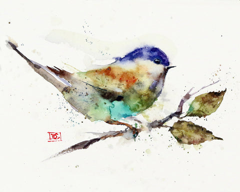 Chickadee on Branch - Watercolor Tile